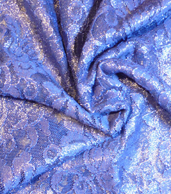 Casa Collection Foiled Lace Fabric 54''-Mazarine Blue