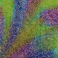 Batik Cotton Fabric-Scrolls Teal Metallic