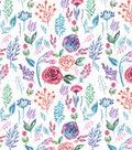 Premium Cotton Print Fabric 43\u0027\u0027-Watercolor Garden on Light Pearl