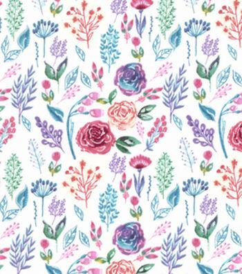 Premium Cotton Print Fabric 43''-Watercolor Garden on Light Pearl