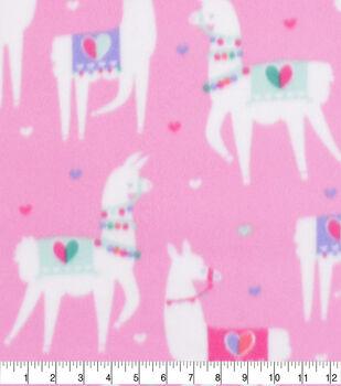 Valentine's Day Blizzard Fleece Fabric-Party Llamas 2