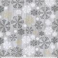 Christmas Cotton Fabric-Snowflakes on Gray Wood