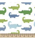 Snuggle Flannel Fabric -Alligators White
