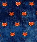 Luxe Flannel Fabric 42\u0022-Foxes on Denim