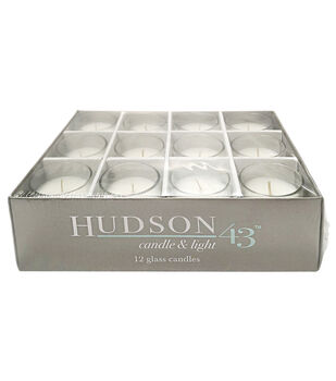 Hudson 43 Candle & Light Unscented Glass Votive Candles-White