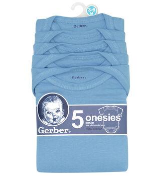 Gerber 5pk Blue Onesies 3-6M