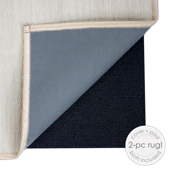 Ruggable Washable 2.5x7' Runner Rug Solid Textured Cream, , hi-res, image 3