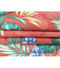 Tropic Time Linen Fabric -Tawny Orange Tropical Print