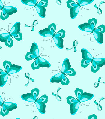 Anti-Pill Fleece Fabric 59''-Teal Ribbon & Butterfly
