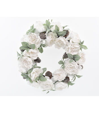 Blooming Holiday 22'' White Flocked Peony & Dusty Miller Wreath
