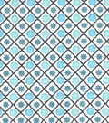 Snuggle Flannel Fabric -Peacock Trellis Geo