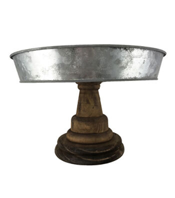 Rustic Wood & Galvanized Metal 10'' Wide Cake Stand