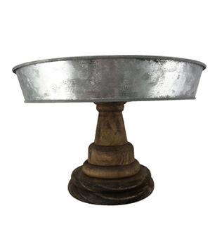 Mix the Media 10'' Rustic Wood & Galvanized Metal Cake Stand