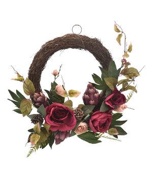 Blooming Autumn Rose & Artichoke Wreath