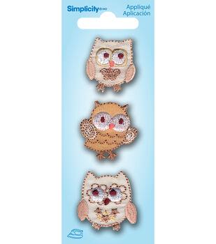 Simplicity Iron-On Applique-Mini Owls-3Pc