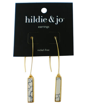 hildie & jo Bar Gold Earrings-Black & White