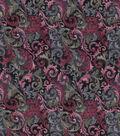 Vintage Cotton Fabric 43\u0022-Scrolling Vines Navy