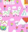 Snuggle Flannel Fabric -Festive Llamas On Pink