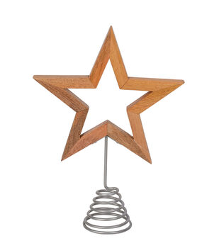 Handmade Holiday Christmas Scandimas Wooden Star Tree Topper