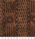 Shirting Cotton Fabric-Black Geometric Waves on Brown