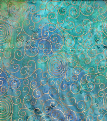 "Batik Cotton Fabric 44""-Teal Rainbow Scrolls Metallic"