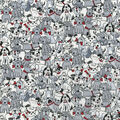 Novelty Cotton Fabric -Playful Pups with Bones