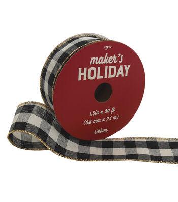 Maker's Holiday Christmas Ribbon 1.5''x30'-Black & Ivory Gingham Checks