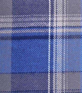Cotton Shirting Fabric 42''-Gray & Blue Plaid