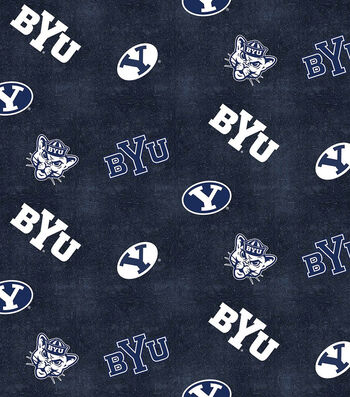 "Brigham Young University Cougars Flannel Fabric 42""-Distressed Logo"