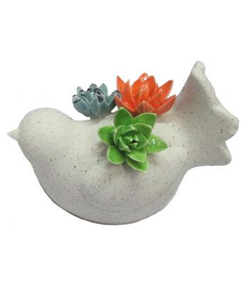 Hello Spring Gardening Terracotta Bird with Ceramic Flower