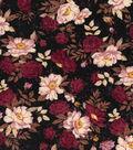 Vintage Cotton Fabric 43\u0027\u0027-Tossed Floral on Black