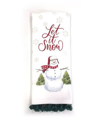 Maker's Holiday Christmas 16''x28'' Kitchen Towel-Snowman & Let it Snow