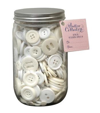 Button Collector Mason Jar-White