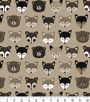 Super Snuggle Flannel Fabric-Woodland Animal Faces In Line