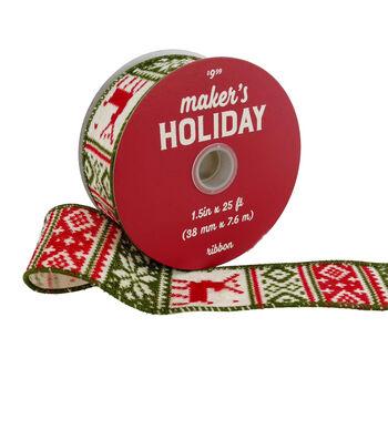 Maker's Holiday Christmas Ribbon 1.5''x25'-Red & Green Nordic Print