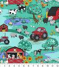 Novelty Cotton Fabric-Country Farm Scene