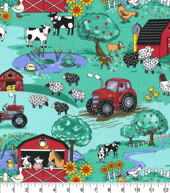 Novelty Cotton Fabric-Country Farm Scene