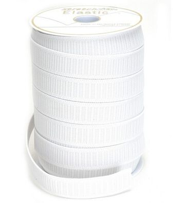 Non-Roll Flat Elastic-White