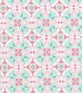 Quilter\u0027s Showcase Cotton Fabric 44\u0027\u0027-Pink & Teal Medallion