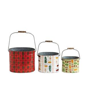 Christmas 3 pk Tin Buckets