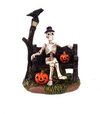 Maker's Halloween Littles Skeleton on Park Bench
