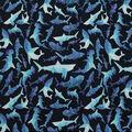 Novelty Cotton Fabric 43\u0027\u0027-Geometric Shark