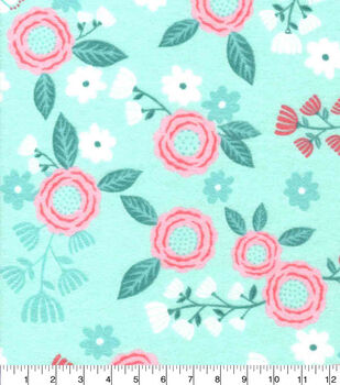 Nursery Flannel Fabric-Hanna Mint Pink Floral