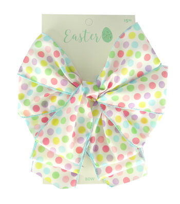 Easter Decorative Bow 9''x5''-Pastel Polka Dots