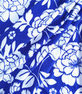 Knit Prints Double Brushed Poly Fabric-Royal Blue Femme Floral