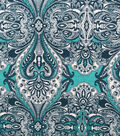 Printed Knit Stretch Fabric -Mint Boho Scroll