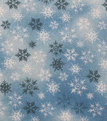 Holiday Cotton Fabric -Blue Glitter Snowflake