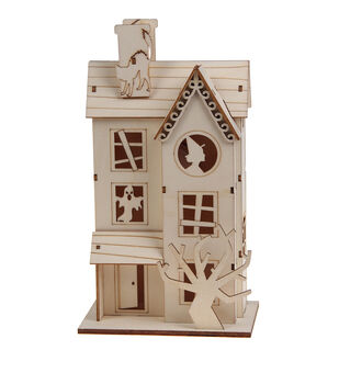 Maker's Halloween Craft Wooden Haunted House-Witch & Ghost