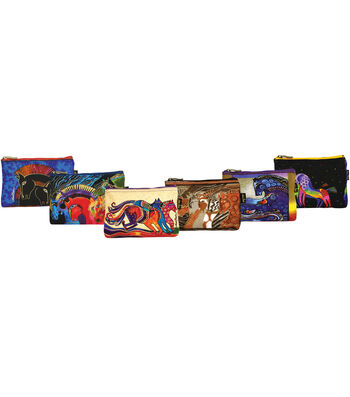 """Laurel Burch Cosmetic Bag 9""""x1""""x6""""-Mythical Horse Assorted Designs"""