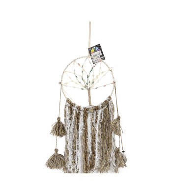 Touch of Nature 24'' Macrame Hoop Wall Hanging with Green & Pink Tree